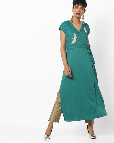Embroidered Kurta With Overlapping Front By AJIO ( Green )