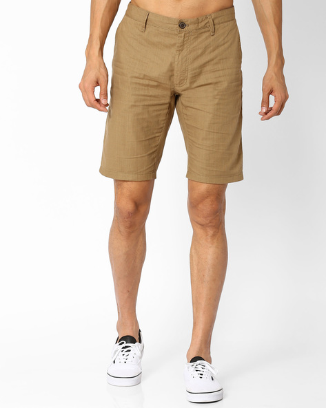 Slim Fit Flat-Front Shorts By INDIAN TERRAIN ( Beige )