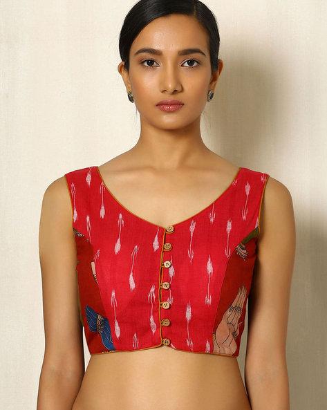 Kalamkari Handblock Print Cotton Blouse With Ikat By Indie Picks ( Red )