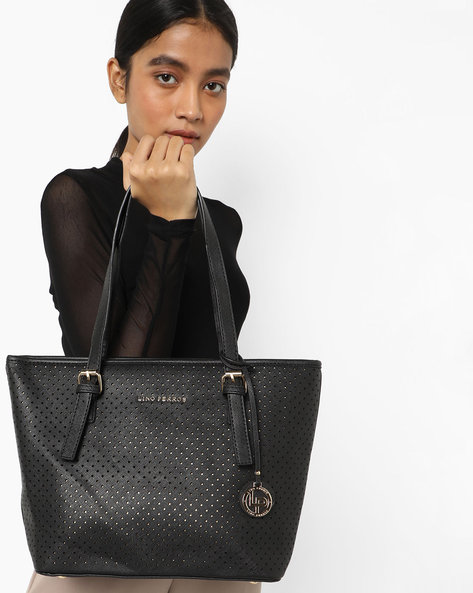 Perforated Tote Handbag By Lino Perros ( Black )
