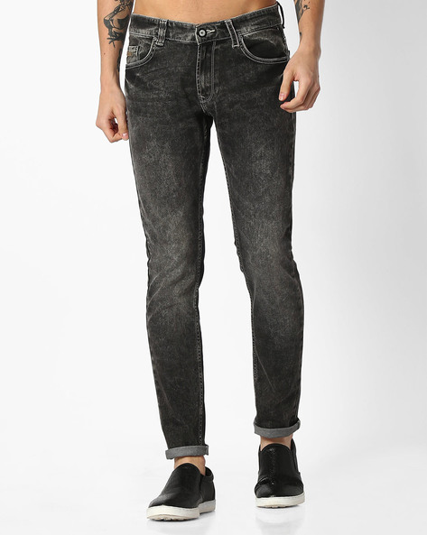Lightly Washed Slim Fit Jeans By SPYKAR ( Grey )