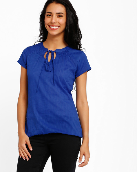 Top With Tie-Up Detail By Style Quotient By Noi ( Blue )
