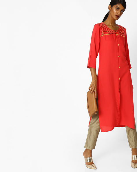 Embroidered Kurta With Front Slit By AVAASA MIX N' MATCH ( Coral )