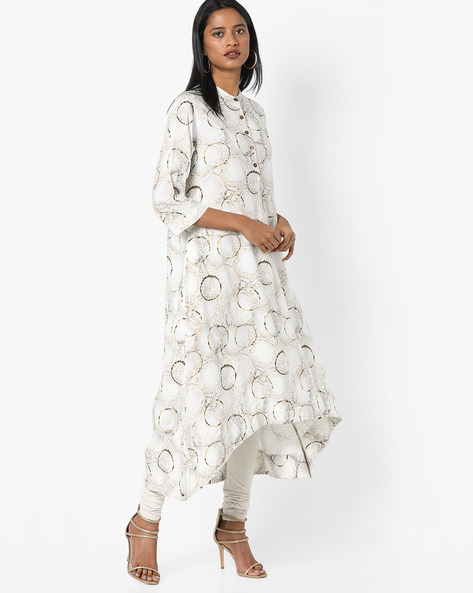 A-line Kurta With Asymmetrical Hemline By Project Eve IW Casual ( Offwhite )