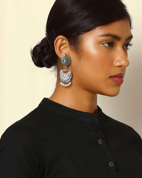 Oxidised Drop-Earrings With Faux Pearl By Indie Picks ( Silver ) - 460046679001