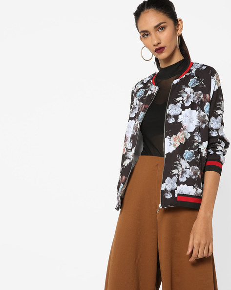 Floral Print Jacket With Raglan Sleeves By AJIO ( Black )
