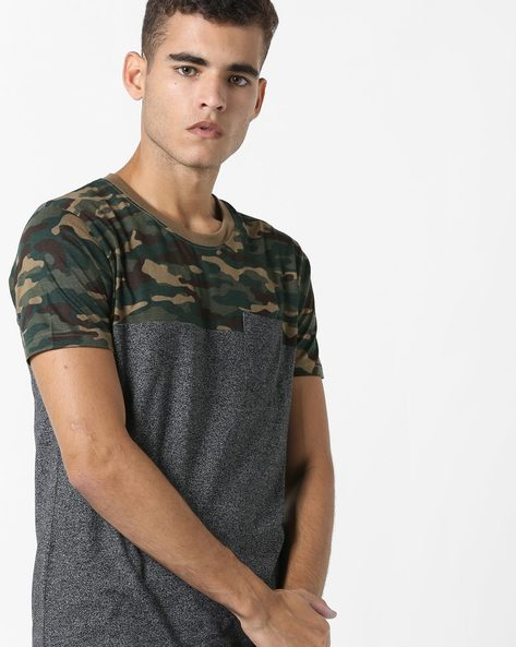 Colourblock T-shirt With Patch Pocket By DIFFERENCE OF OPINION ( Grey )