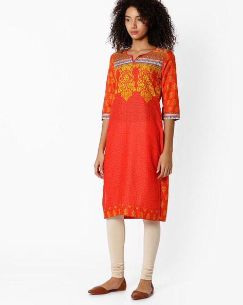 Printed Straight Kurta By Rangriti ( Orange )