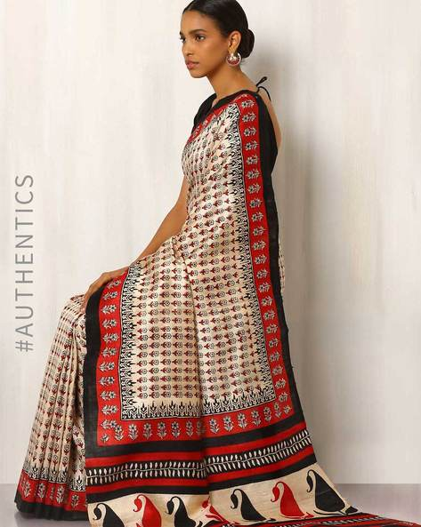 Handblock Print Pure Kosa Silk Saree By Indie Picks ( Multi )