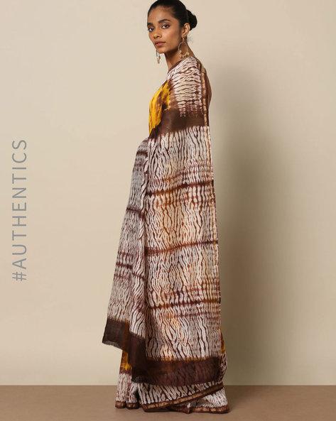 Shibori Tie Dye Chanderi Saree With Zari By Indie Picks ( Multi ) - 460146851001