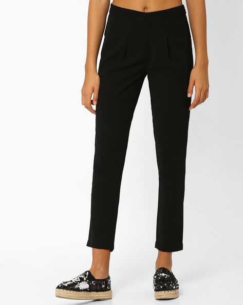 Ankle-Length Pants With Pleats By AJIO ( Black )