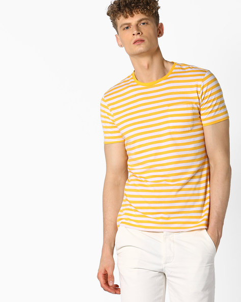 Striped Crew-Neck T-shirt With Patch Pocket By UNITED COLORS OF BENETTON ( Yellow )