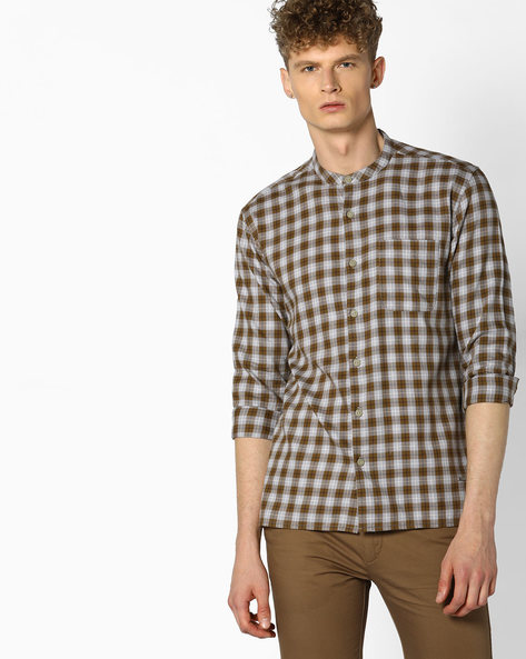 Checked Cotton Shirt With Band Collar By VOI JEANS ( Multicolor )