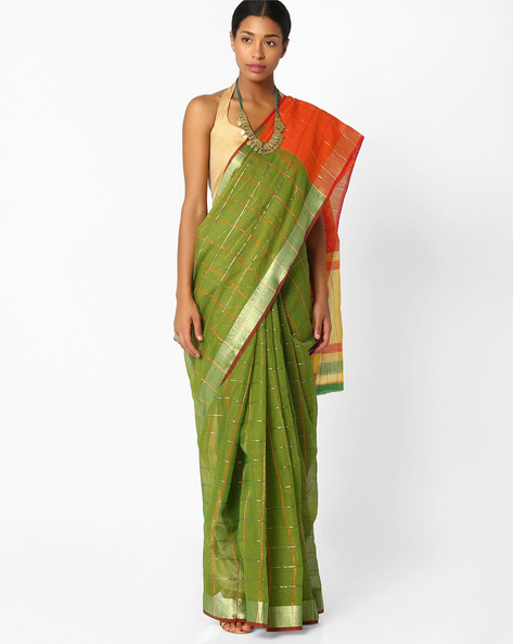 Checked Saree With Zari Border By Amori ( Green )