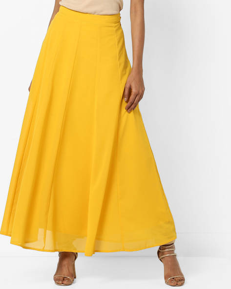 Flared Panelled Maxi Skirt By AJIO ( Lime )
