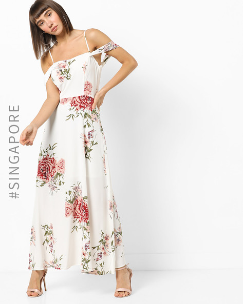 Floral Print Strappy Maxi Dress By MDS ( White )