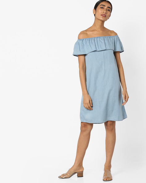Off-Shoulder Shift Dress With Layered Bodice By Evah London ( Blue )