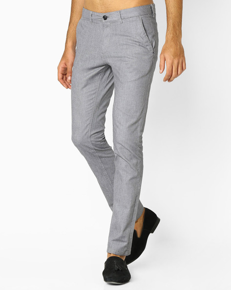 Flat-Front Tapered Chinos By NETPLAY ( Black )