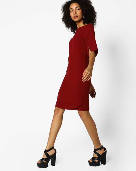 Sheath Dress With Back Slit By Femella ( Maroon )