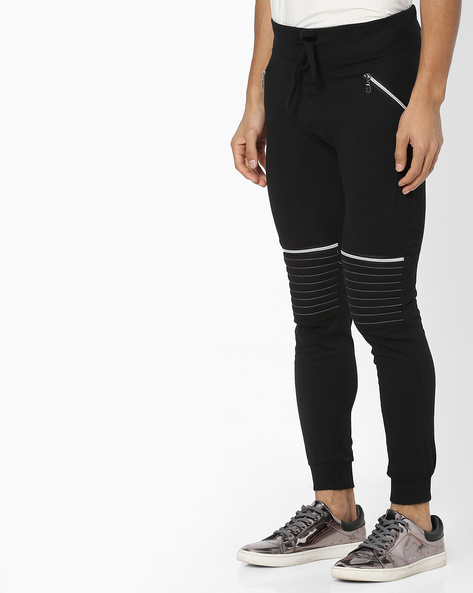 Panelled Joggers With Drawstring Fastening By Campus Sutra ( Black ) - 460161982003