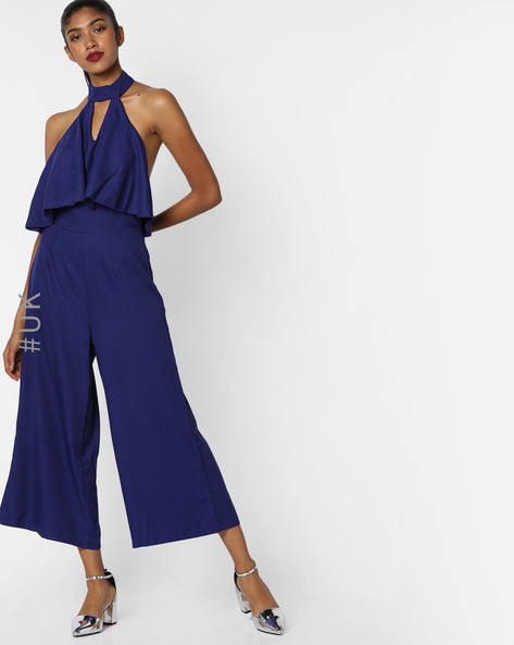 Ruffled Backless Jumpsuit By INFLUENCE ( Blue )