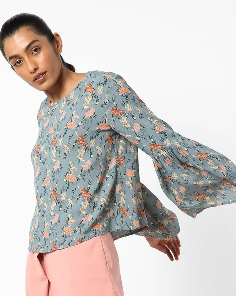 Floral Print Top With Flared Sleeves By Only ( Blue )