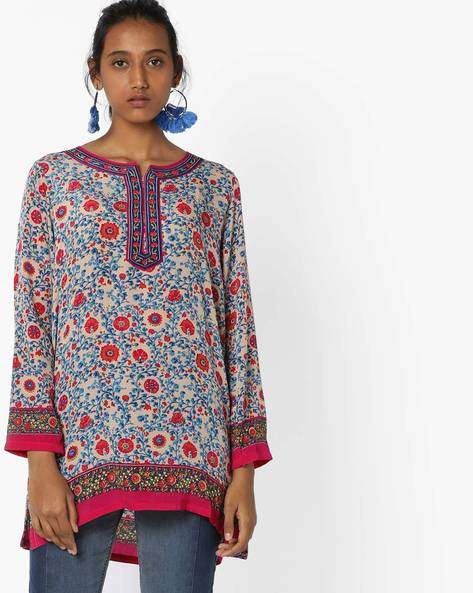 Floral Printed Straight Kurti By Biba ( Turqouise )