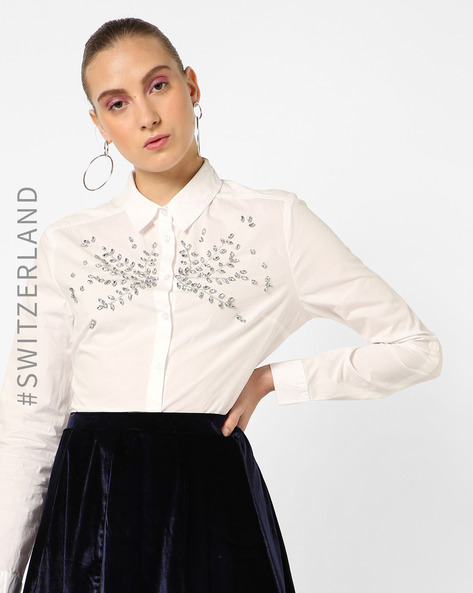 Embellished Shirt With Full Sleeves By TALLY WEiJL ( Offwhite )