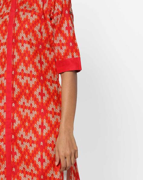 Printed Kurta With Front-Slit Hem By Breya ( Red )