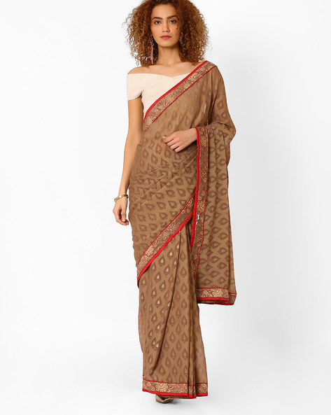 Saree With Embroidery By Arissa ( Beige )