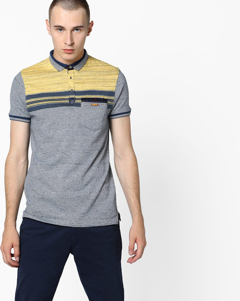 Polo T-shirt With Striped Yoke By Fort Collins ( Yellow )