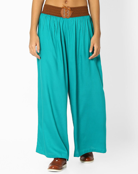 Palazzos With Elasticated Waist By FUSION ( Turquoise )