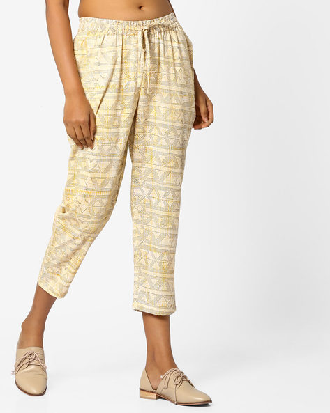 Geometric Print Calf-Length Pants By Project Eve IW Fusion ( Yellow )