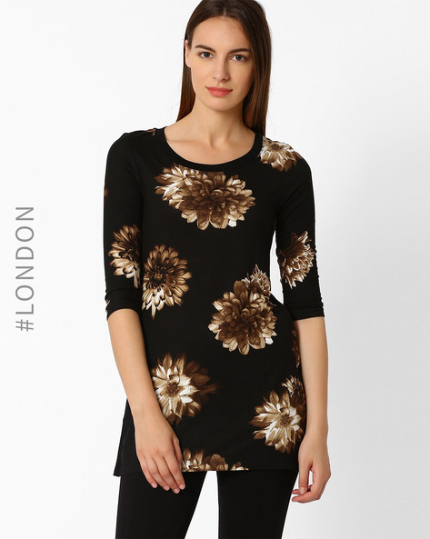 Floral Print Tunic By Marks & Spencer ( Black )