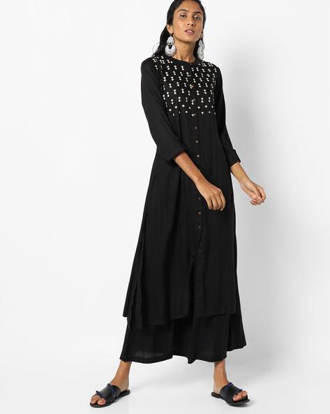 Straight Kurta With Roll-Tab Sleeves By Global Desi ( Black )