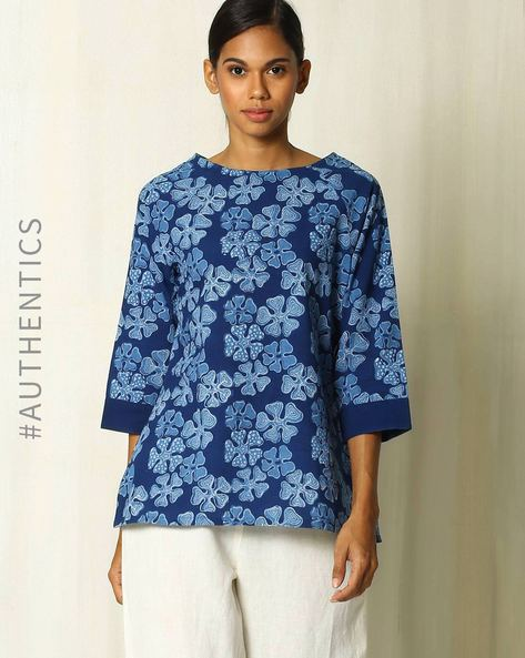 Handblock Floral Print Indigo Cotton Top By Indie Picks ( Indigo )