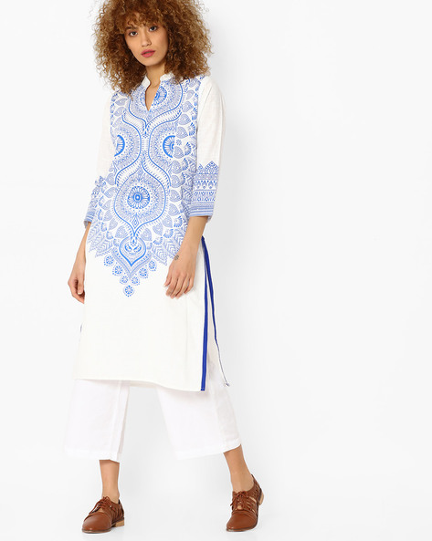 Printed Straight Kurta With Contrast Taping By Mmantra ( Multi )