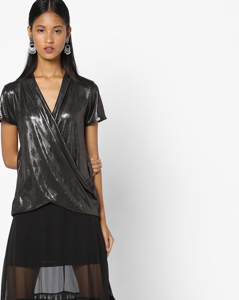 Top With Surplice Neck By CODE By Lifestyle ( Grey )