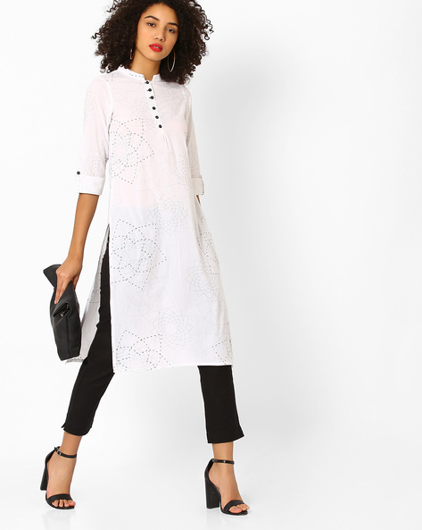 Printed Straight Kurta With Mandarin Collar By AJIO ( White )