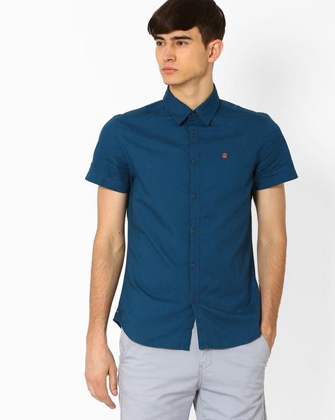 Cotton Slim Fit Shirt By Jack & Jones ( Blue )