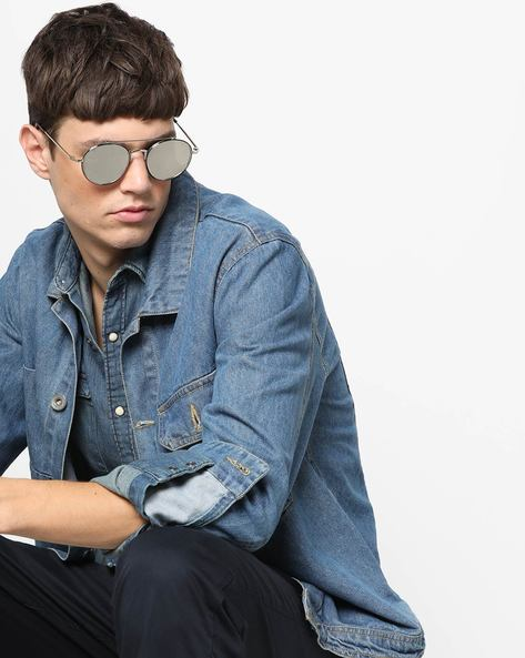 UV-Protected Mirrored Round Sunglasses By MTV ( Silver )