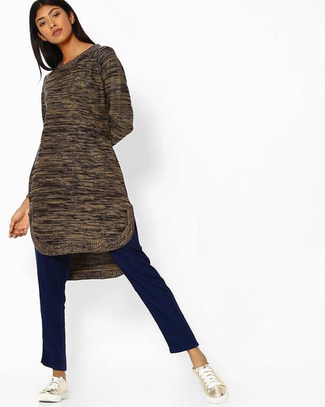 Woollen Kurta With High-Low Hem By FUSION ( Beige )