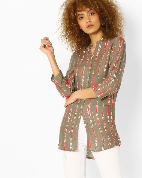 Printed Shirt-Styled Tunic By SOCH ( Grey )