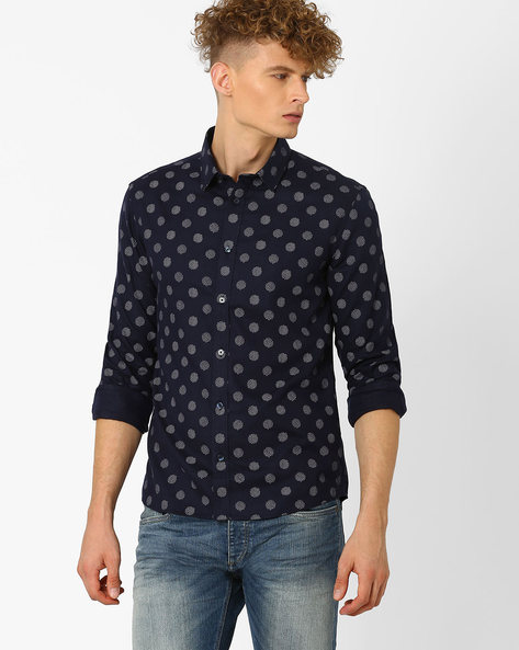 Printed Slim Fit Shirt By Celio ( Marine )