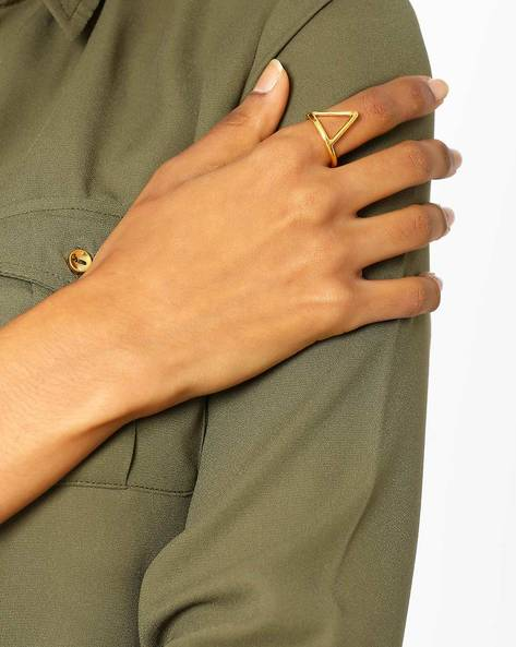 Matte Gold-Plated Geometric Ring By AJIO ( Gold )