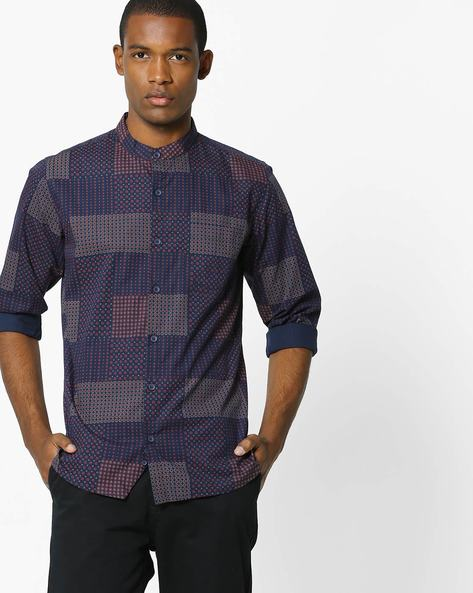 Printed Shirt With Mandarin Collar By UNITED COLORS OF BENETTON ( Darkblue )