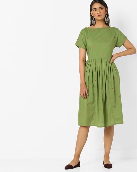 Geometric Print Fit & Flare Dress By AJIO ( Olive )