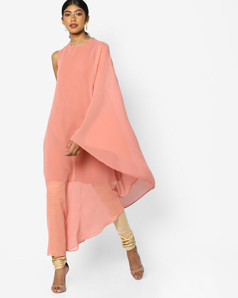 Cape Dress With Embroidery By AJIO ( Peach )