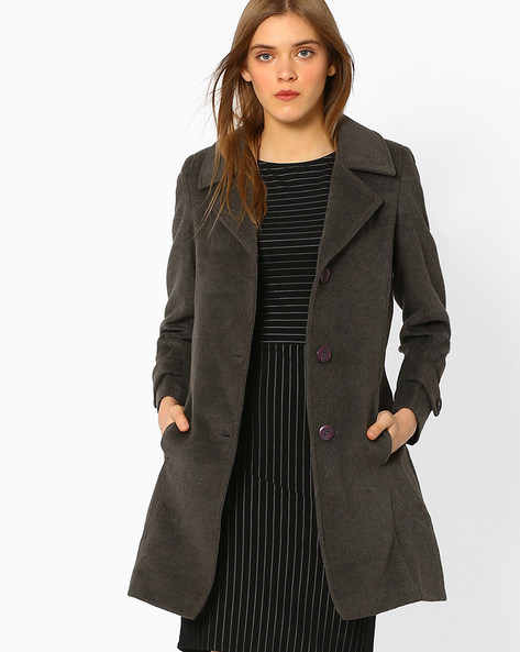 Panelled Trench Coat By DUKE ( Charcoal )