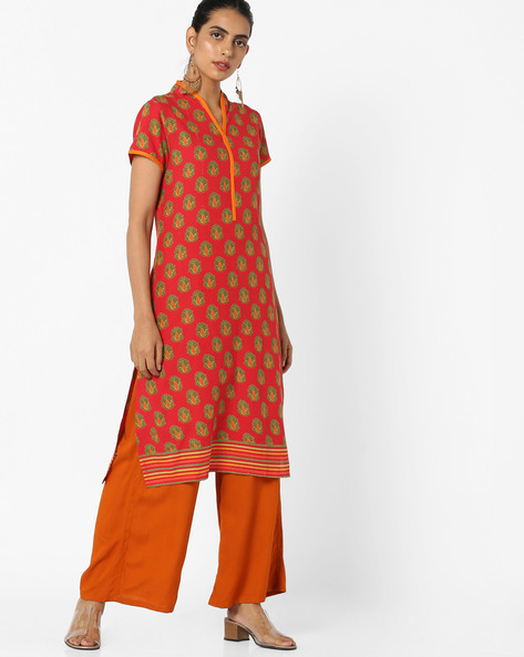 Printed Straight Kurta By Jiyaa ( Orange )